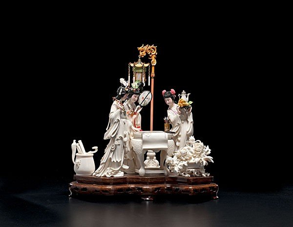 100: Outstanding Chinese Polychrome Ivory Figural Group