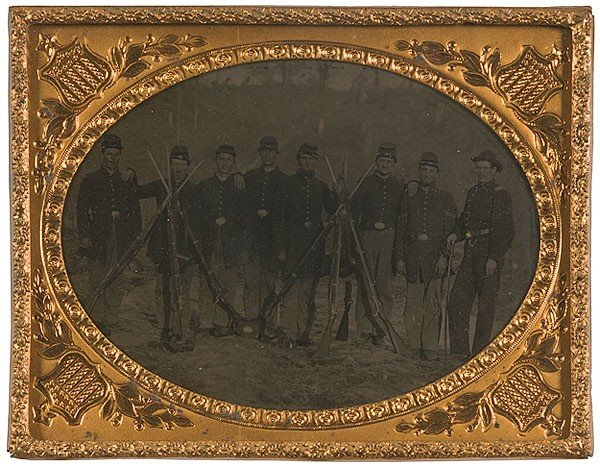 8: Quarter Plate Tintype of Union Infantry Squad in Cam
