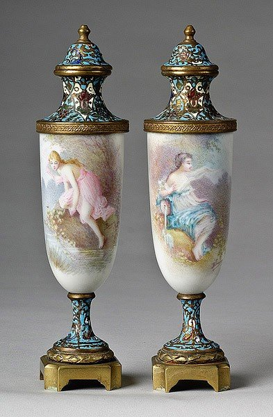 12: PAIR FRENCH PORCELAIN URNS