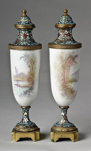 12: PAIR FRENCH PORCELAIN URNS - 2