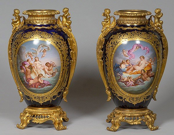 156: MONUMENTAL SEVRES URNS FOR KING LOUIS PHILIPPE