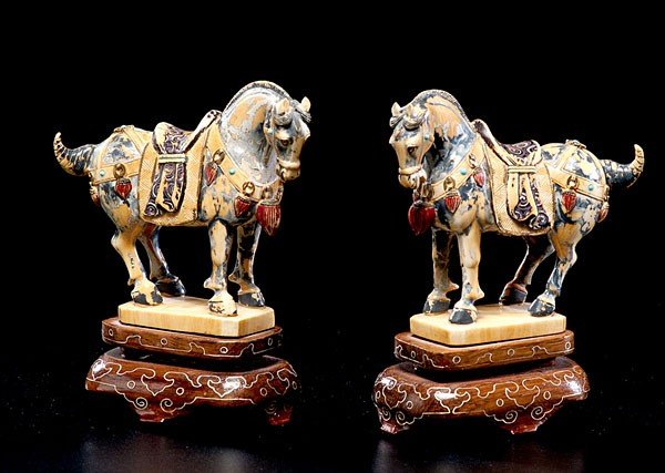179: CHINESE CARVED IVORY HORSES