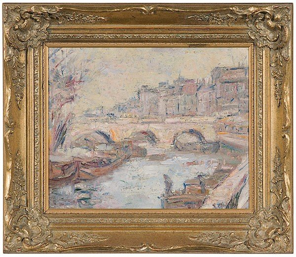 4: Parisian Landscape by Gustave Madelain, Oil on Canva
