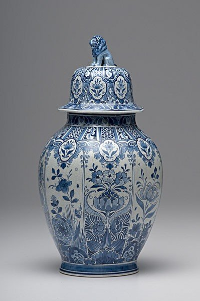 14: English Delft Covered Jar