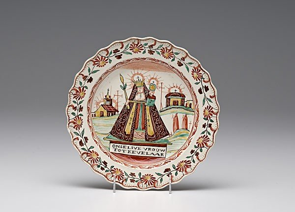 22: Our Lady of Kevelaar Polychrome Creamware Plate