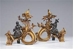 127 French Gilt Bronze Chinoiserie Chenets