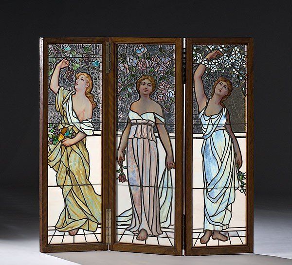 288: Art Nouveau Stained Glass Screen