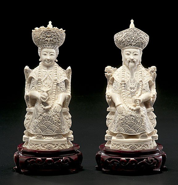 1007: Chinese Carved Ivory Emperor and Empress