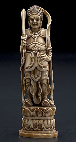 1015: Chinese Carved Ivory Figure of Warrior
