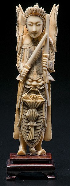1016: Chinese Carved Ivory Warrior Deity