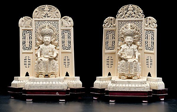 1017: Chinese Carved Ivory Emperor & Empress on Throne