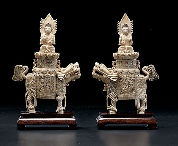1018: Chinese Carved Ivory Figural Urns