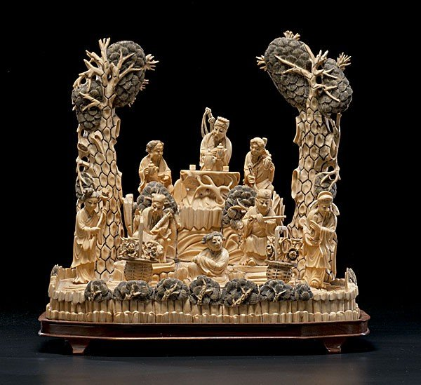 1019: Large Chinese Ivory and Bone Figural Group
