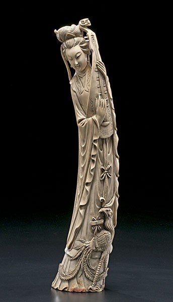 1020: Chinese Carved and Inked Ivory Woman