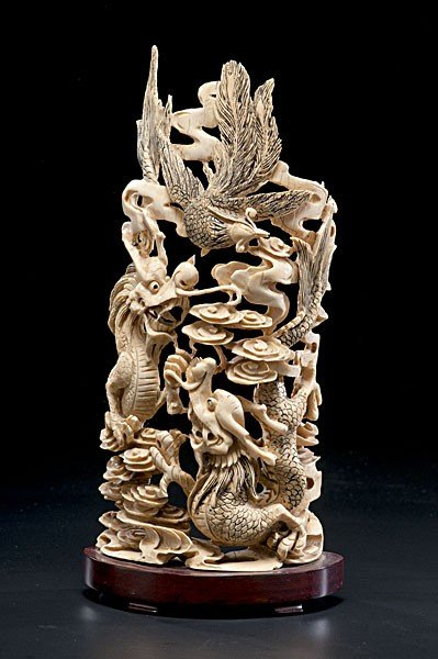 1021: Chinese Carved and Inked Ivory Dragon Relief