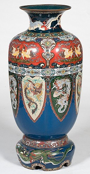 1168: Monumental Chinese Cloisonné Floor Vase