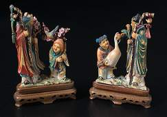 1418: Chinese Polychrome Ivory Figural Groups