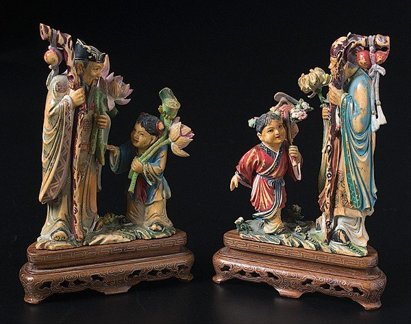 1419: Chinese Polychrome Ivory Figural Groups