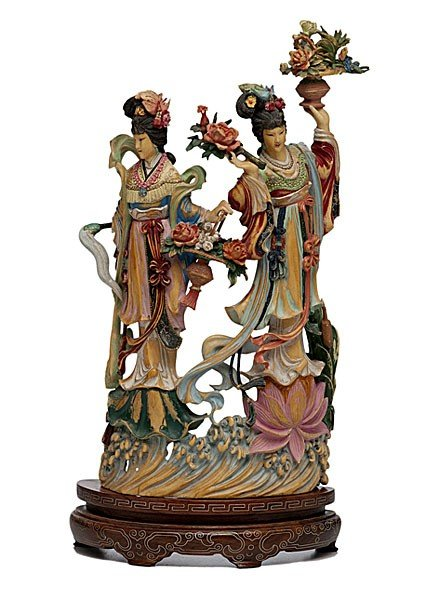1420: Finely Carved Chinese Polychrome Ivory Figures