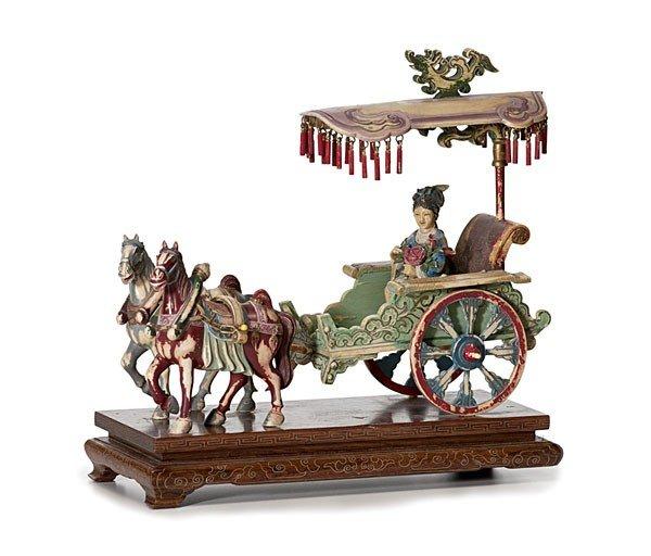 1421: Finely Carved & Polychrome Chinese Ivory Rickshaw