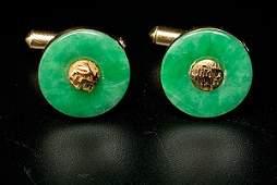 1773 14K Gold Jade Cufflinks