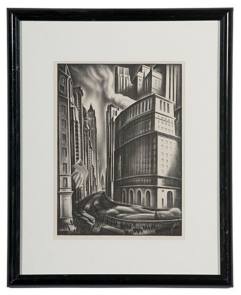 7: Cityscape by Howard Cook, Lithograph