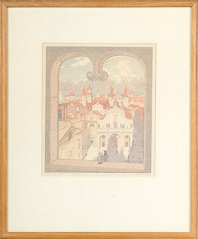 Continental Cityscape By Rudolph Ruzicka, Woodblock�