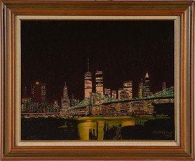 9: New York Skyline by Elizabeth Santiago, Oil on Board