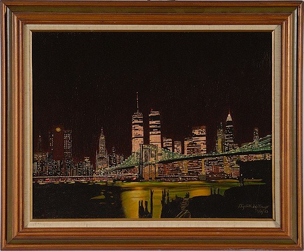 9: New York Skyline by Elizabeth Santiago, Oil on Board