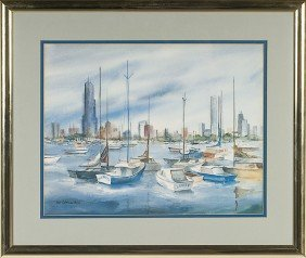 Harbor Scene By Pat C. Huss, Watercolor�