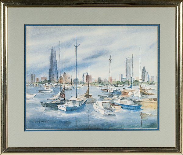 11: Harbor Scene by Pat C. Huss, Watercolor