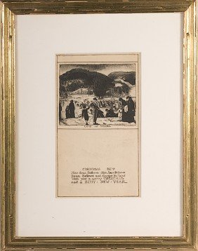 Christmas Card By George Bellows, Lithograph�