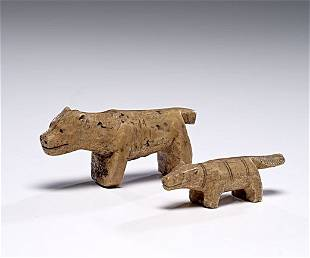 Eskimo Carved Ivory Dogs Collected by G. W. Dilley