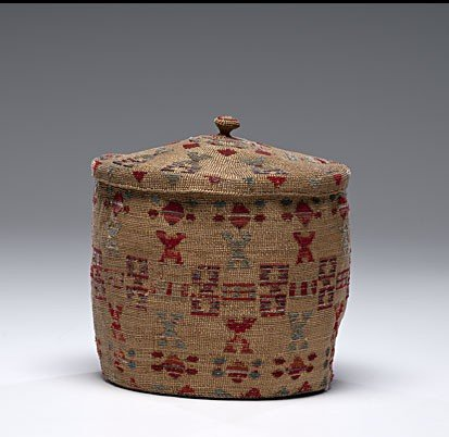 12: Attu Lidded and Embroidered Basket