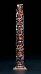 Haida Carved and Painted Totem Pole