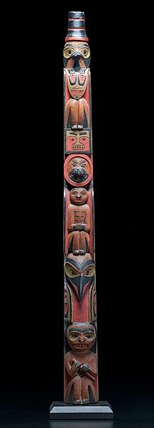 Tlingit Polychrome Carved Totem Pole