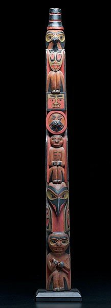 16: Tlingit Polychrome Carved Totem Pole