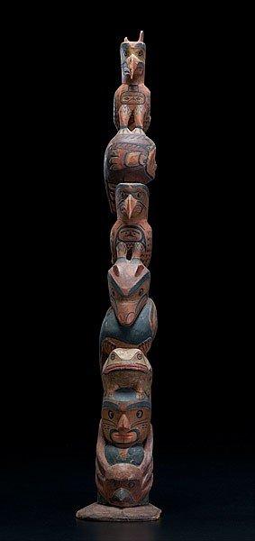 17: Mungo Martin Kwakiutl Carved and Painted Totem Pole