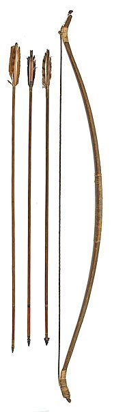 21: Rare Sierra Miwok Sinew-Backed Bow with Arrows