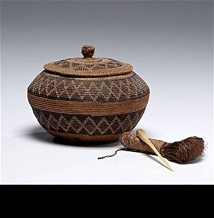 California Tulare Lidded Basket and Soap Root Brush