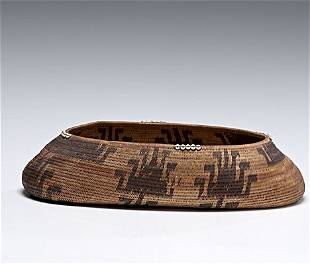 Pomo Basket with Clam Shell Beads