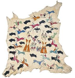 38: Cadzi Cody Shoshone Painted Hide Collected by Ervin