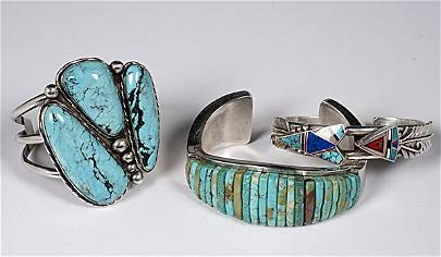 329: Navajo Turquoise and Silver Bracelets