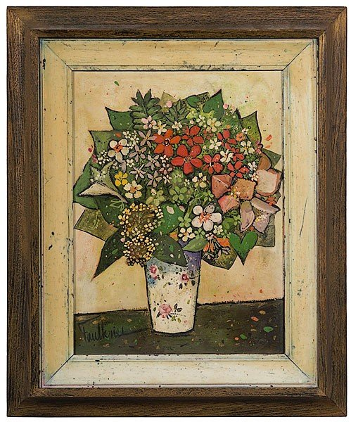 3: Still Life of Flowers by Henry Faulkner, Oil / Board