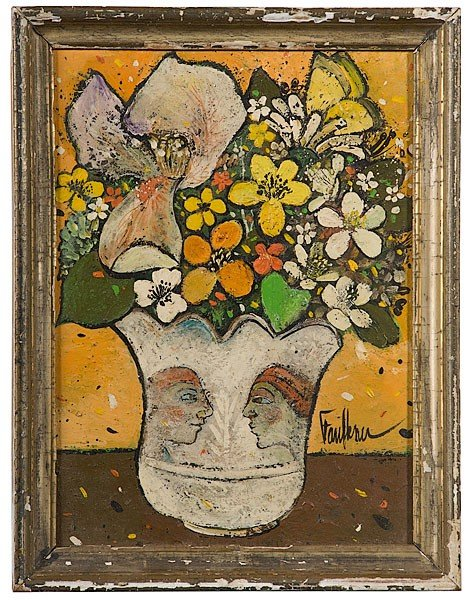 4: Still Life in Faces Vase by Henry Faulkner, Oil / Bd