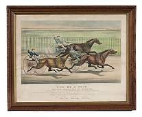 16 Currier  Ives Lithograph Won By a Neck
