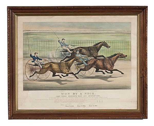16: Currier & Ives Lithograph Won By a Neck