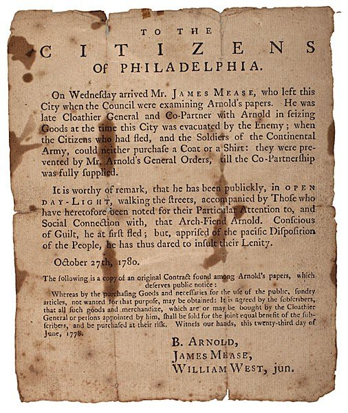 1: Revolutionary War Broadside about Benedict Arnold