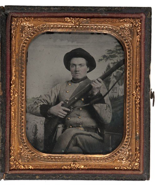 14: Sixth Plate Ambrotype of Armed Confederate Soldier