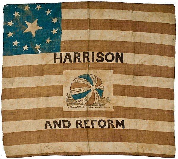 138: William Henry Harrison Campaign Flag Banner